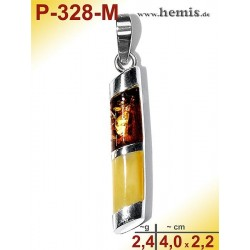 P-328-M Amber Pendant, silver-925, multicolor, angular, S, moder