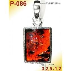 P-086 Amber Pendant, silver-925, cognac, angular, S, modern