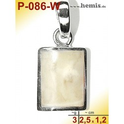 P-086-W Amber Pendant, silver-925, white, angular, S, modern