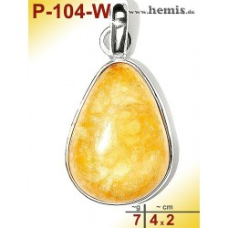 P-104-W Amber Pendant, silver-925, white, drop, M, modern