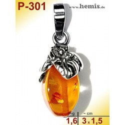 P-301 Bernstein-Anhänger Silber-925, cognac, Tropfen,  S, rustik