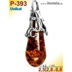 P-393 Bernstein-Anhänger Silber-925, cognac, Unikat, Tropfen,  S