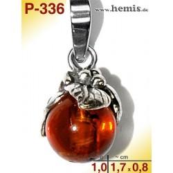 P-336 Amber Pendant, silver-925, white, drop, XS, rustic