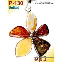 P-130 Amber Pendant, silver-925, multicolor, unique, flower, L,