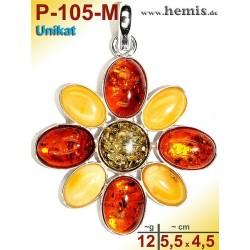 P-105-M Amber Pendant, silver-925, multicolor, unique, flower, M