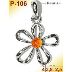 P-106 Amber Pendant, silver-925, cognac, flower, M, modern