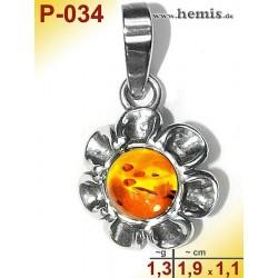 P-034 Amber Pendant, silver-925, cognac, flower, S, modern