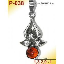 P-038 Amber Pendant, silver-925, cognac, flower, S, modern