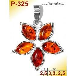 P-325 Amber Pendant, silver-925, cognac, flower, S, modern