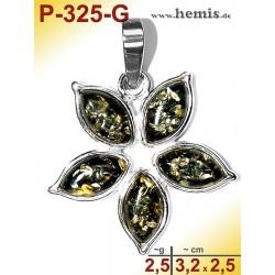 P-325-G Amber Pendant, silver-925, green, flower, S, modern
