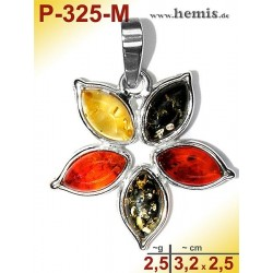 P-325-M Amber Pendant, silver-925, multicolor, flower, M, modern