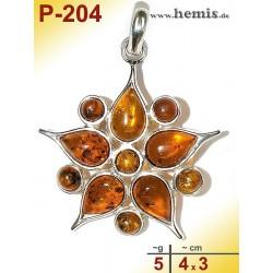 P-204 Amber Pendant, silver-925, cognac, flower, M, modern
