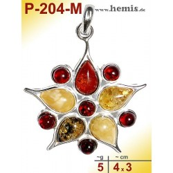 P-204-M Amber Pendant, silver-925, multicolor, flower, M, modern