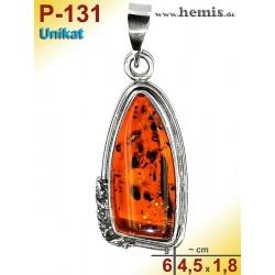 P-131 Amber Pendant, silver-925, cognac, unique, M, modern