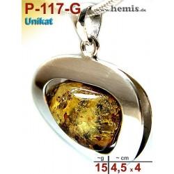 P-117-G Amber Pendant, silver-925, green, unique, L, modern