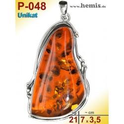 P-048 Amber Pendant, silver-925, cognac, unique, L, modern