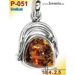 P-051 Amber Pendant, silver-925, cognac, unique, M, modern