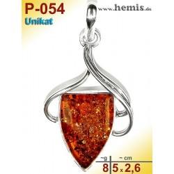 P-054 Amber Pendant, silver-925, cognac, unique, M, modern