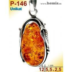 P-146 Amber Pendant, silver-925, cognac, unique, M, Leaf Decor