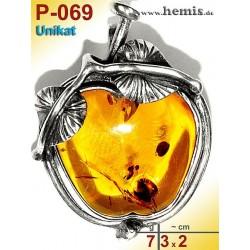 P-069 Amber Pendant, silver-925, cognac, unique, M, Leaf Decor