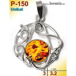 P-150 Amber Pendant, silver-925, cognac, unique, S, playful