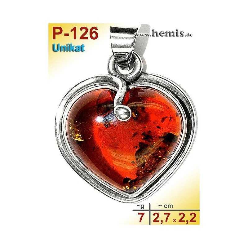 P-126 Amber Pendant, silver-925, cognac, unique, S, heart