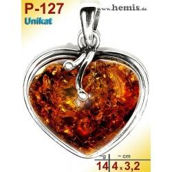 P-127 Amber Pendant, silver-925, cognac, unique, M, heart