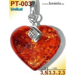PT-003 Bernstein-Anhänger Silber-925, cognac, Unikat M, Herz