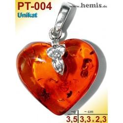 PT-004 Bernstein-Anhänger Silber-925, cognac, Unikat M, Herz