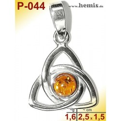 P-044 Amber Pendant, silver-925, cognac, unique, S, modern
