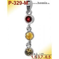 P-329-M Amber Pendant, silver-925, multicolor, S, modern