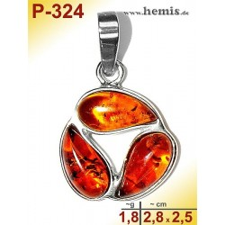 P-324 Amber Pendant, silver-925, cognac, S, modern