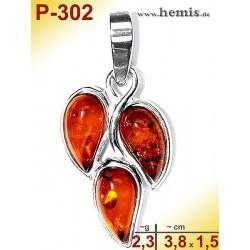 P-302 Amber Pendant, silver-925, cognac, S, modern