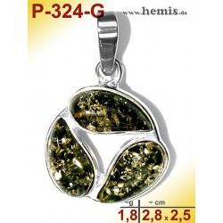 P-324-G Amber Pendant, silver-925, green, S, modern