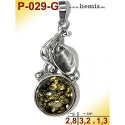 P-029-G Amber Pendant, silver-925, green, S, Leaf Decor