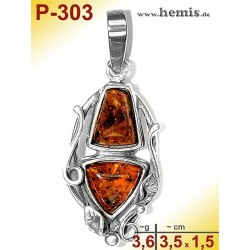 P-303 Amber Pendant, silver-925, cognac, M, Leaf Decor