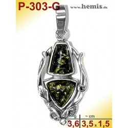 P-303-G Amber Pendant, silver-925, green, M, Leaf Decor