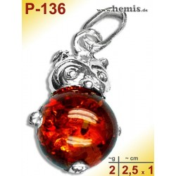 P-136 Amber Pendant, silver-925, cognac, S, Owl