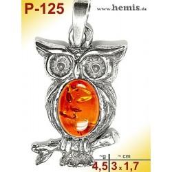 P-125 Amber Pendant, silver-925, cognac, S, Owl