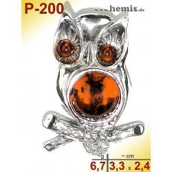 P-200 Bernstein-Anhänger Silber-925, cognac, M, Eule