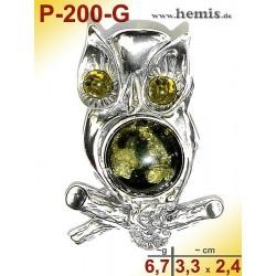 P-200-G Amber Pendant, silver-925, green, M, Owl