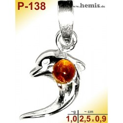 P-139 Amber Pendant, silver-925, cognac, XS, dolphin, modern