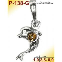 P-139-G Amber Pendant, silver-925, green, XS, dolphin, modern