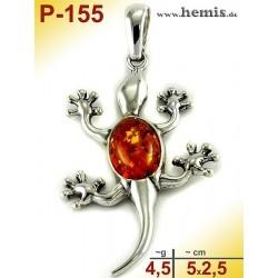 P-155 Amber Pendant, silver-925, cognac, M, Lizard, Gecko, moder