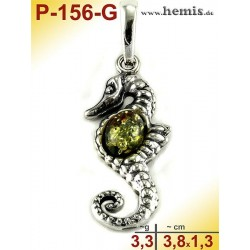 P-156-G Amber Pendant, silver-925, green, M, Sea horse, modern