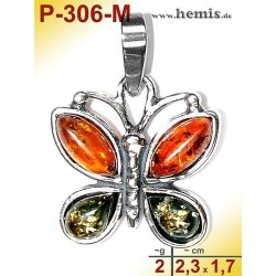 P-306-M Amber Pendant, silver-925, multicolor, S, butterfly