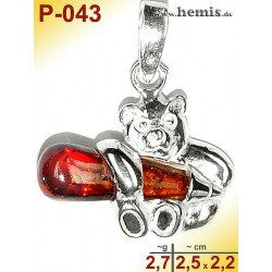P-043 Amber Pendant, silver-925, cognac, S, Teddybeer
