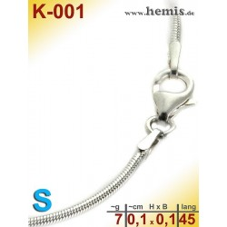 K-001 Sterling silver snake-chain-925, S,