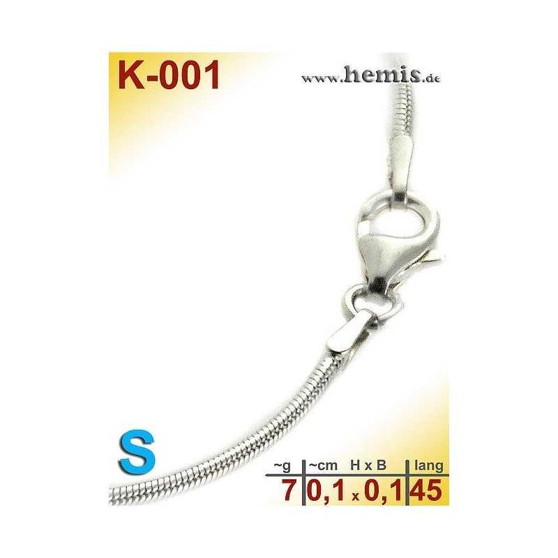 K-001 Sterling silver snake-chain-925, S,