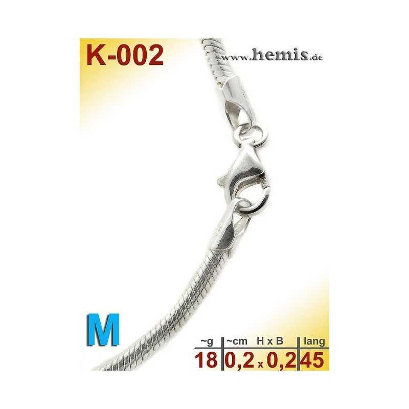 K-002 Schlangen-Kette Sterling Silber-925, M,